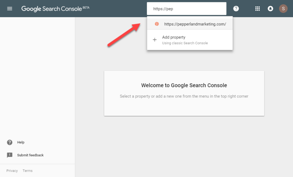 Google Search Console Select Property