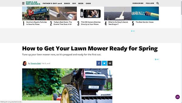 Lawn Mower Maintenance Article
