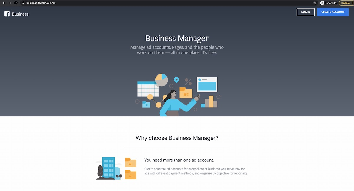 facebook business manager create page screen