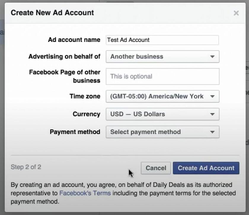 create ads manager account on facebook business manager pop up