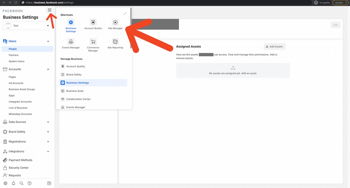 ads manager location in facebook business manager