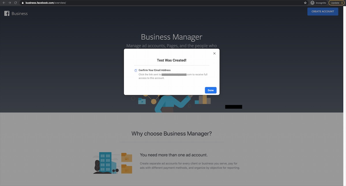 Facebook business manager email confirmation notification