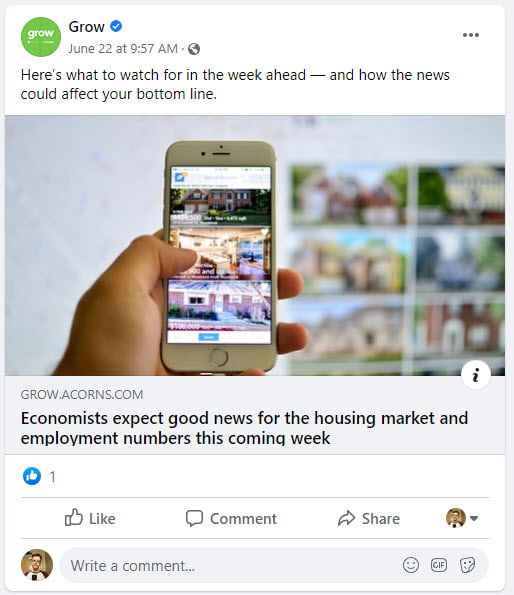 Example of broadcasting social post