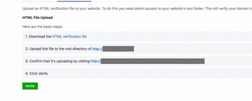 Facebook Ad Instructions for HTML File Upload Verification