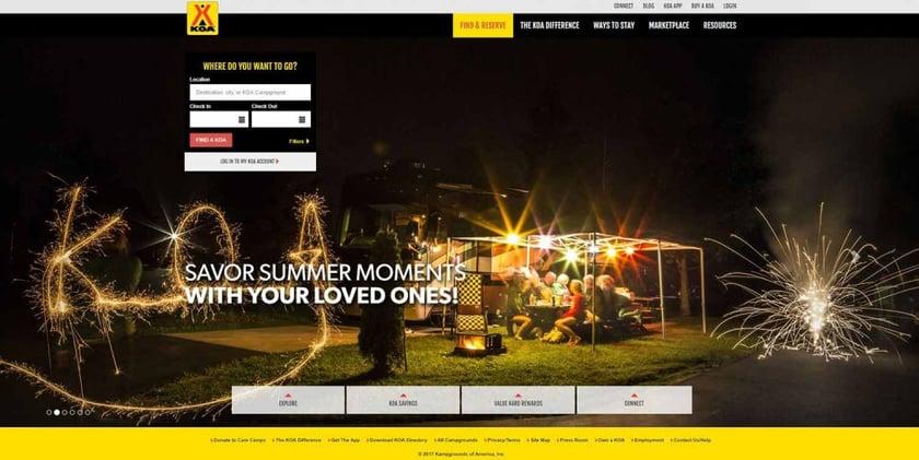KOA Homepage Inbound Marketing