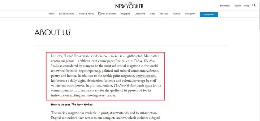 New Yorker Mission Statement