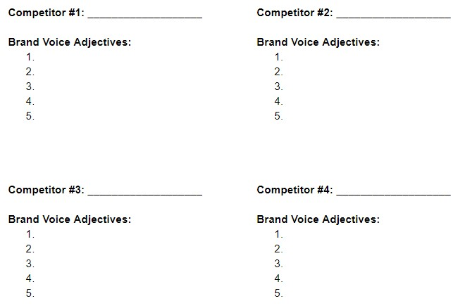 competitor analysis brand voice worksheet