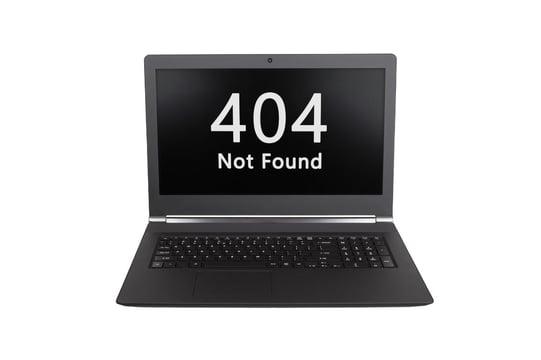 Laptop displaying 404 not found.